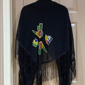 Black Rayon shawl with beaded accent